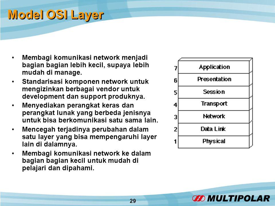 29 Model OSI Layer •Membagi komunikasi network menjadi bagian bagian lebih kecil, supaya lebih mudah di manage.