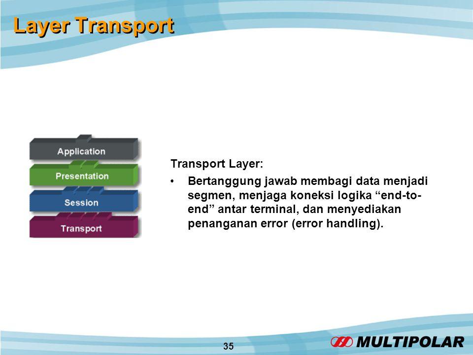 35 Layer Transport Transport Layer: •Bertanggung jawab membagi data menjadi segmen, menjaga koneksi logika end-to- end antar terminal, dan menyediakan penanganan error (error handling).