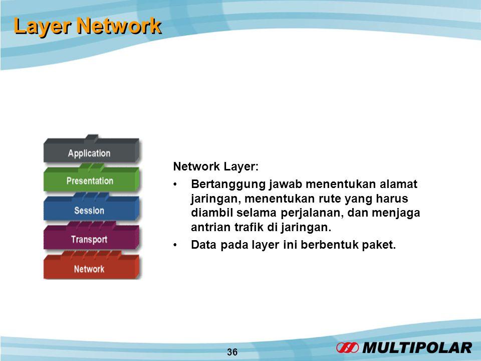36 Layer Network Network Layer: •Bertanggung jawab menentukan alamat jaringan, menentukan rute yang harus diambil selama perjalanan, dan menjaga antrian trafik di jaringan.