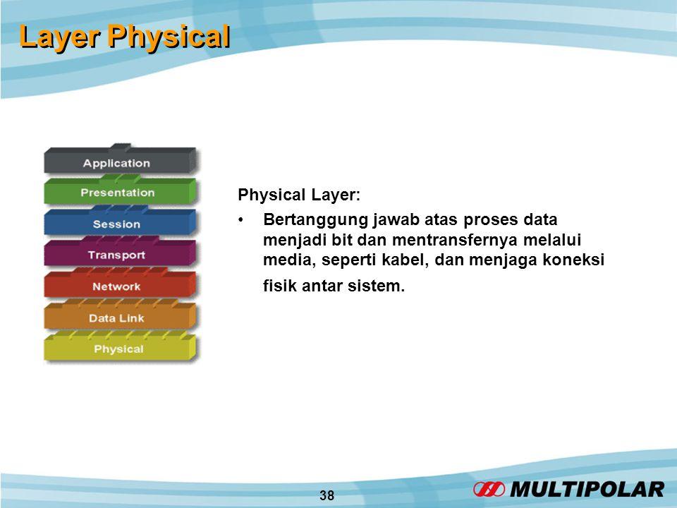 38 Layer Physical Physical Layer: •Bertanggung jawab atas proses data menjadi bit dan mentransfernya melalui media, seperti kabel, dan menjaga koneksi fisik antar sistem.