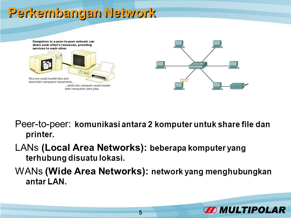 5 Perkembangan Network Peer-to-peer: komunikasi antara 2 komputer untuk share file dan printer.