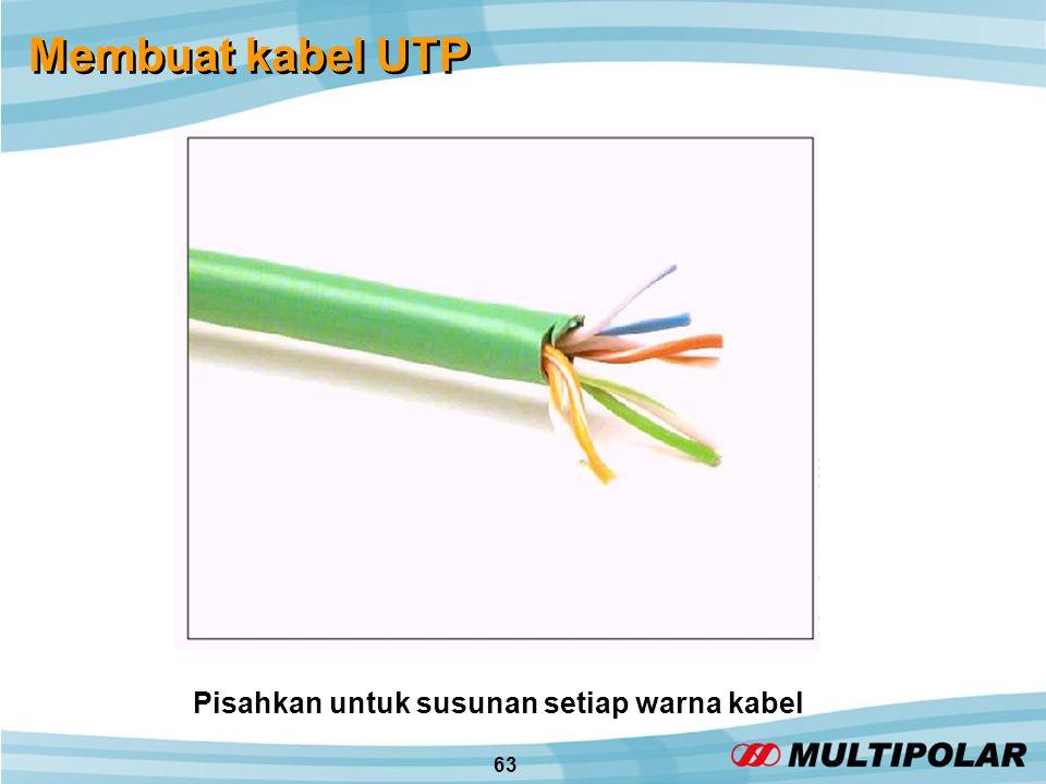 63 Membuat kabel UTP Pisahkan untuk susunan setiap warna kabel