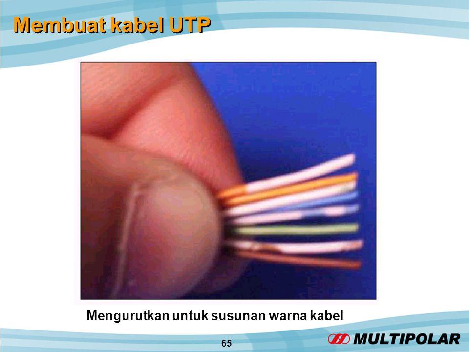 65 Membuat kabel UTP Mengurutkan untuk susunan warna kabel