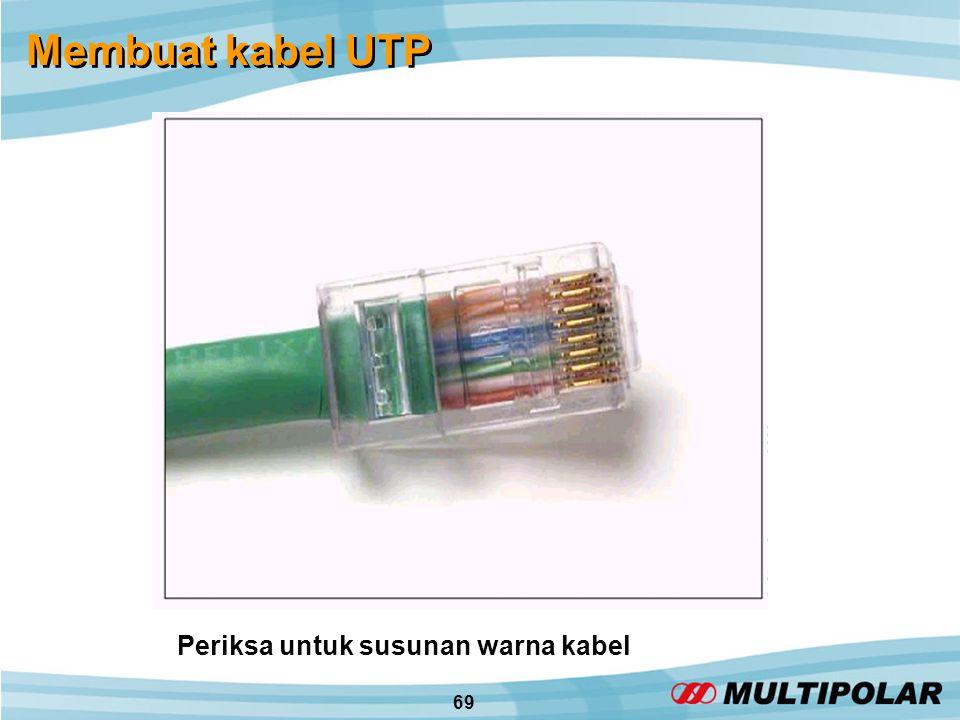 69 Membuat kabel UTP Periksa untuk susunan warna kabel