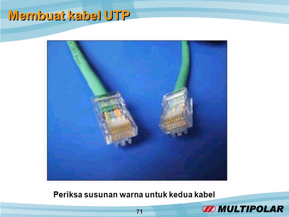 71 Membuat kabel UTP Periksa susunan warna untuk kedua kabel