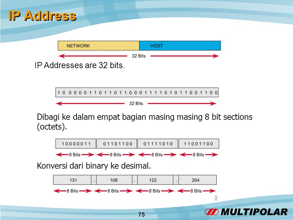 75 IP Address IP Addresses are 32 bits.