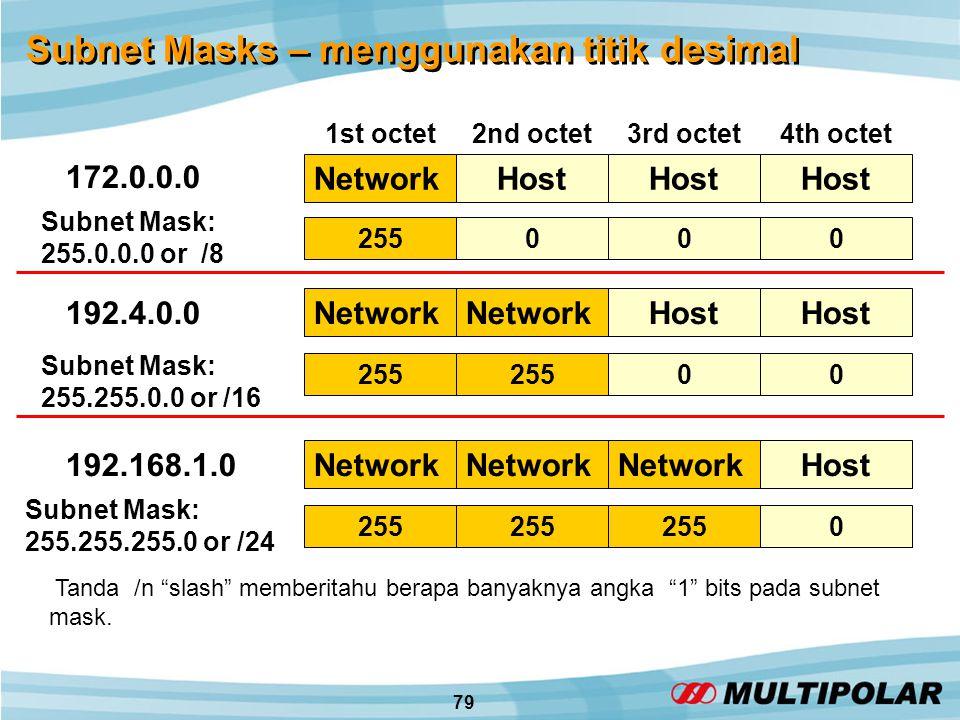 79 Subnet Masks – menggunakan titik desimal Subnet Mask: 255.0.0.0 or /8 Subnet Mask: 255.255.0.0 or /16 Subnet Mask: 255.255.255.0 or /24 255000 00 0 Tanda /n slash memberitahu berapa banyaknya angka 1 bits pada subnet mask.