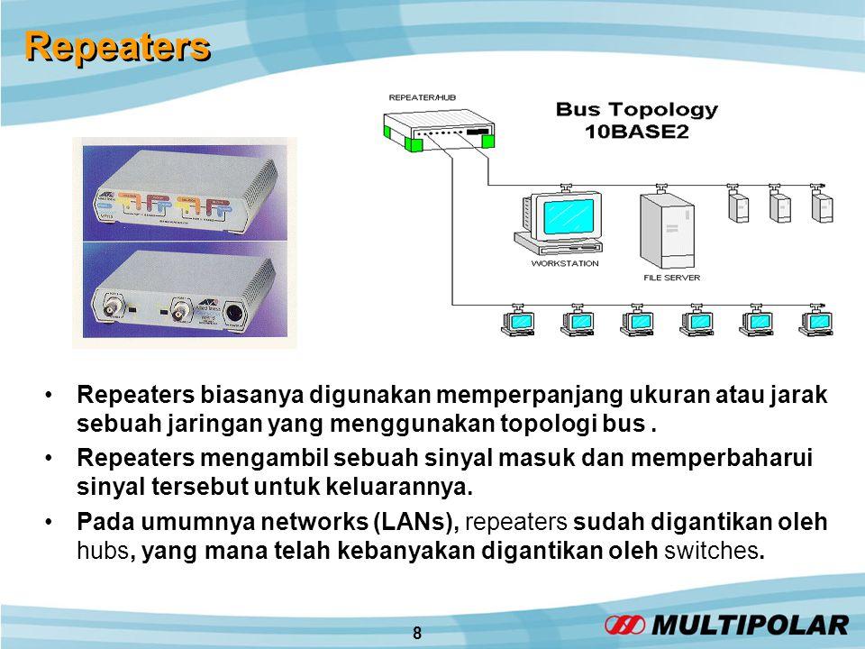 8 Repeaters •Repeaters biasanya digunakan memperpanjang ukuran atau jarak sebuah jaringan yang menggunakan topologi bus.