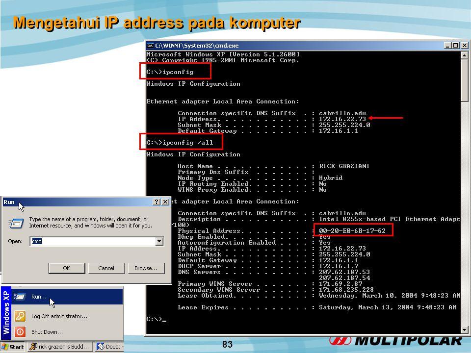 83 Mengetahui IP address pada komputer