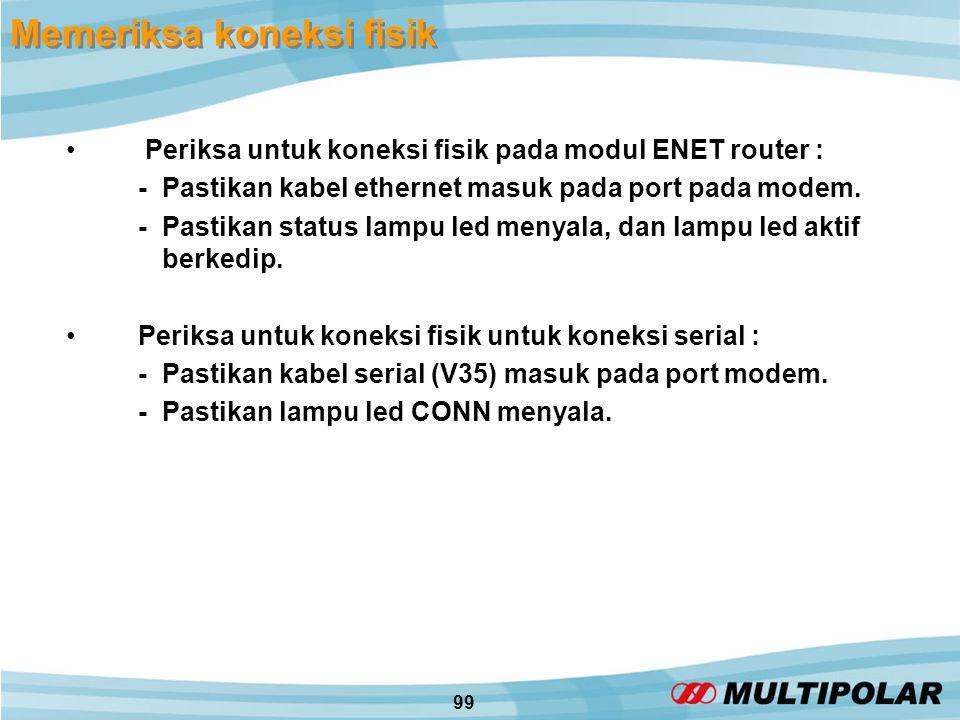 99 Memeriksa koneksi fisik • Periksa untuk koneksi fisik pada modul ENET router : -Pastikan kabel ethernet masuk pada port pada modem.