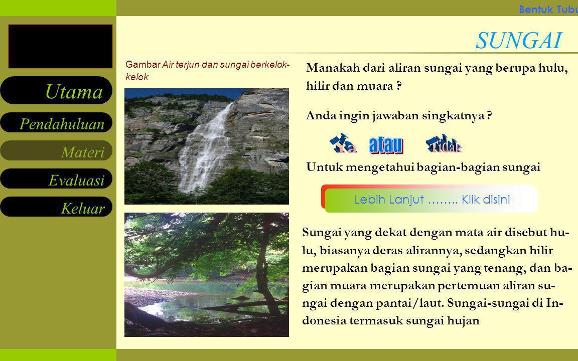 Materi Keluar Pendahuluan Utama Evaluasi Gambar Gunung Bersalju Apakah jenis sungai di daerah yang memili- ki musin dingin ? SUNGAI Sungai Lebih Lanju