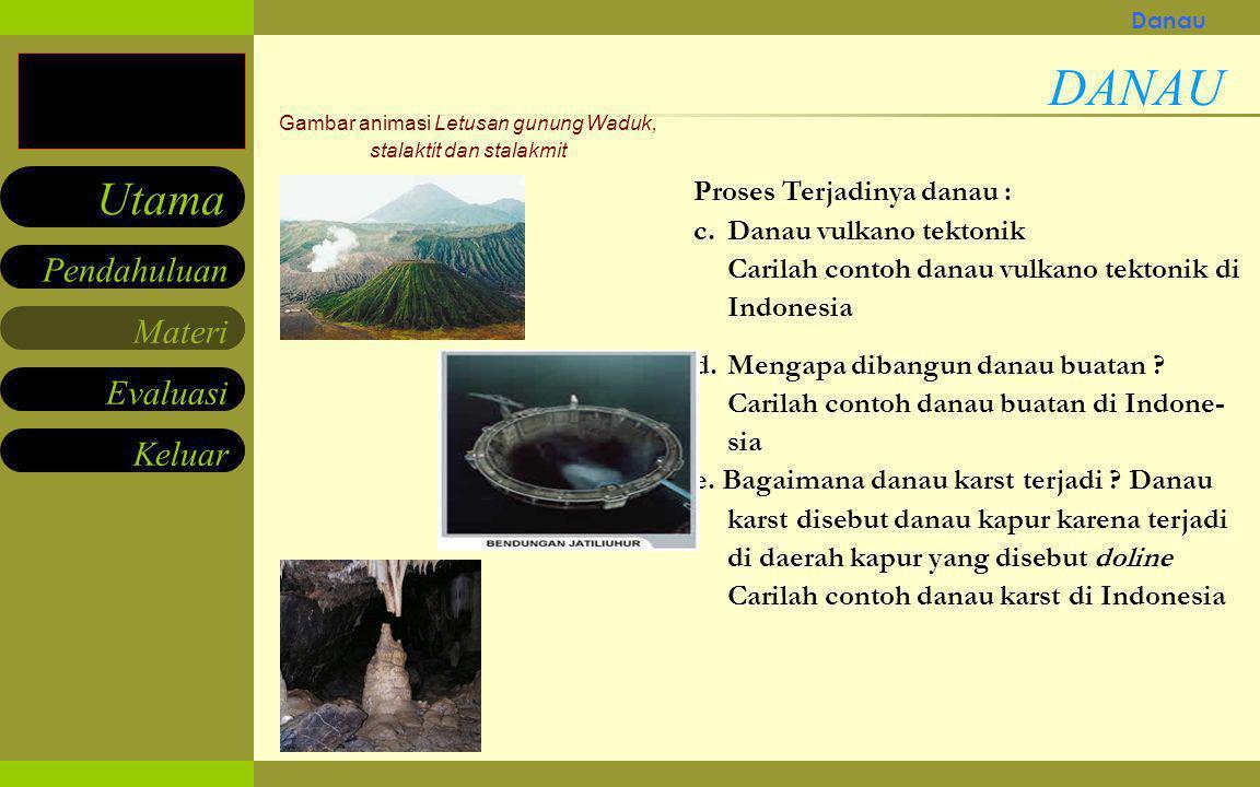 Materi Keluar Pendahuluan Utama Evaluasi Movie/gambar animasi Letusan gunung Waduk, stalaktit dan stalakmit Proses Terjadinya danau : a.Sebagai akibat