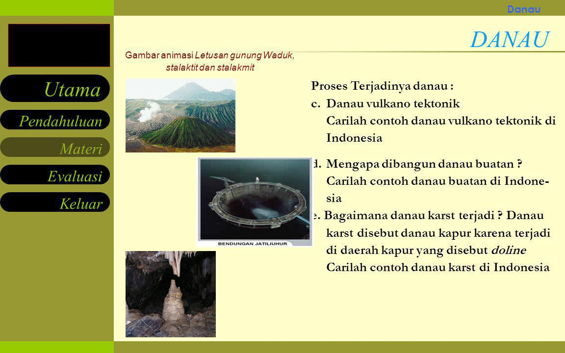 Materi Keluar Pendahuluan Utama Evaluasi Movie/gambar animasi Letusan gunung Waduk, stalaktit dan stalakmit Proses Terjadinya danau : a.Sebagai akibat exploitasi / letusan / le- dakan gunung yeng terlempar dari pun- caknya akan menyisakan bentuk maar, apabila pada lapisan atasnya kedap air maka akan terisi air dan terbentuklah danau vulkanik Carilah contoh-contoh danau vulkanik di Indonesia b.