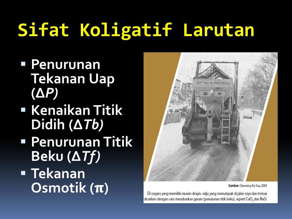 Sifat Koligatif Larutan  Penurunan Tekanan Uap (ΔP)  Kenaikan Titik Didih (ΔTb)  Penurunan Titik Beku (ΔTf)  Tekanan Osmotik ()