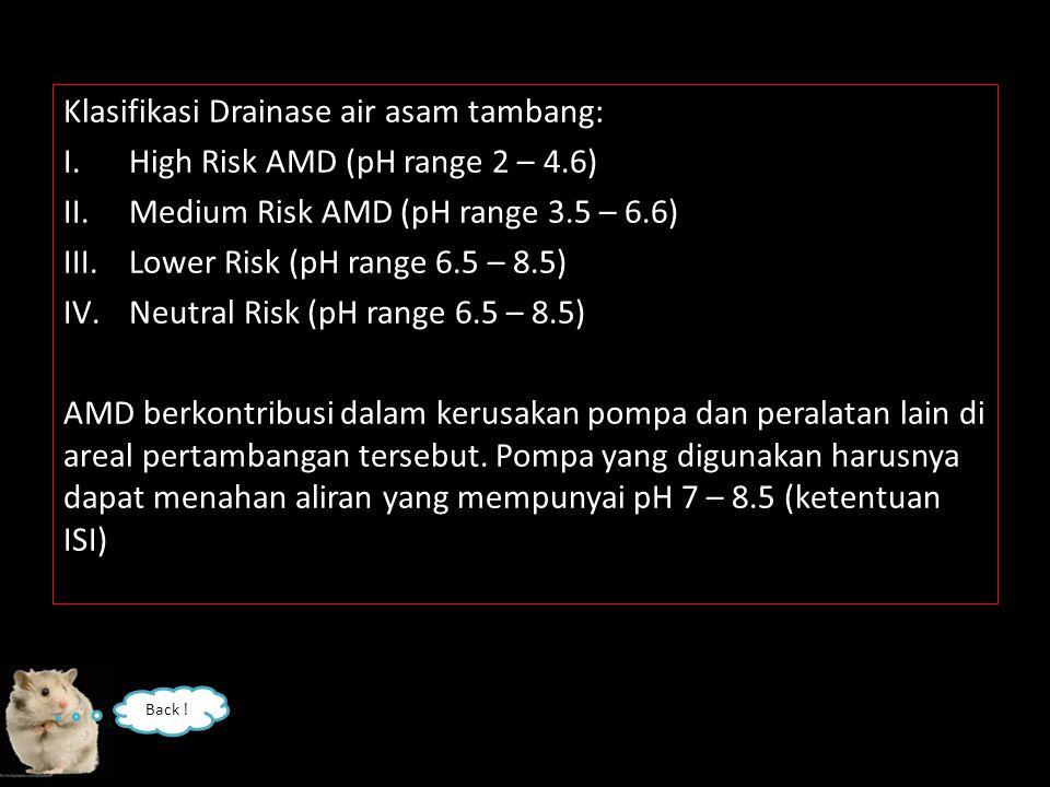 Klasifikasi Drainase air asam tambang: I.High Risk AMD (pH range 2 – 4.6) II.Medium Risk AMD (pH range 3.5 – 6.6) III.Lower Risk (pH range 6.5 – 8.5) IV.Neutral Risk (pH range 6.5 – 8.5) AMD berkontribusi dalam kerusakan pompa dan peralatan lain di areal pertambangan tersebut.
