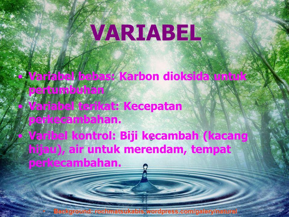 Background:rochmatsukabis.word press.com VARIABEL •V•Variabel bebas: Karbon dioksida untuk pertumbuhan •V•Variabel terikat: Kecepatan perkecambahan. •