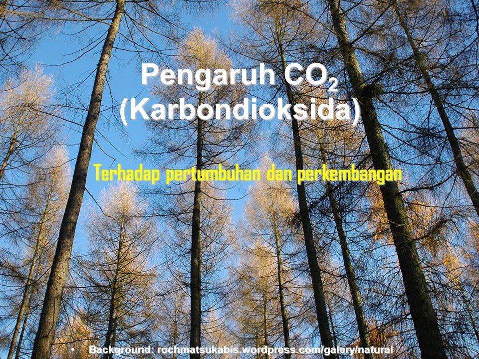 Background:rochmatsukabis.word press.com Pengaruh CO2 (Karbondioksida) Terhadap pertumbuhan dan perkembangan •Background: rochmatsukabis.wordpress.com