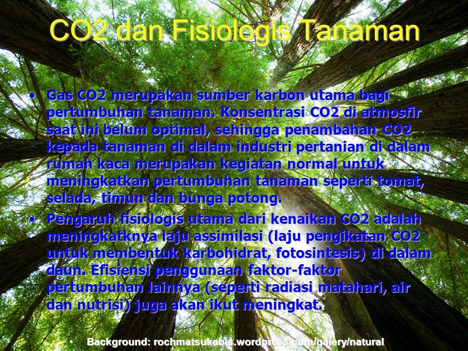 Background:rochmatsukabis.word press.com CO2 dan Fisiologis Tanaman •Gas CO2 merupakan sumber karbon utama bagi pertumbuhan tanaman. Konsentrasi CO2 d