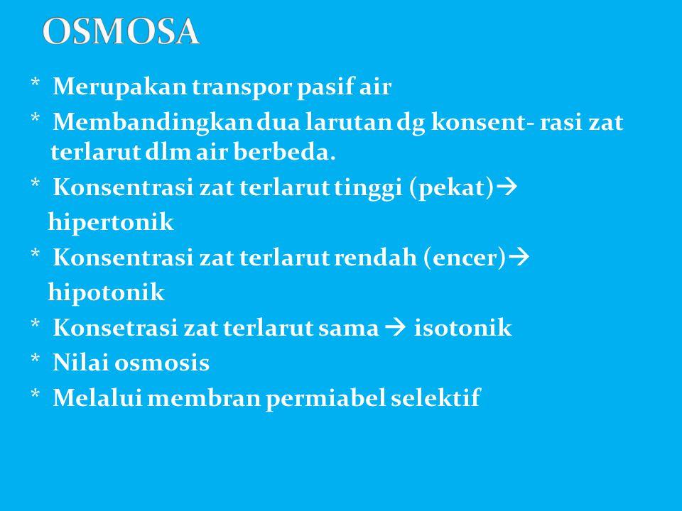 * Merupakan transpor pasif air * Membandingkan dua larutan dg konsent- rasi zat terlarut dlm air berbeda. * Konsentrasi zat terlarut tinggi (pekat) 