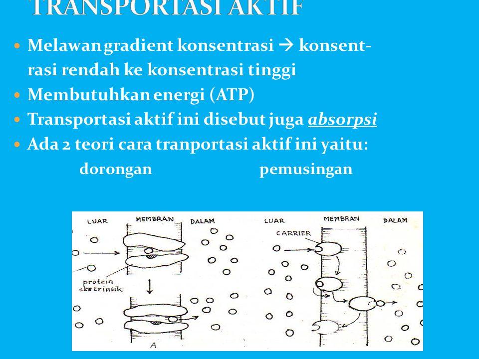  Melawan gradient konsentrasi  konsent- rasi rendah ke konsentrasi tinggi  Membutuhkan energi (ATP)  Transportasi aktif ini disebut juga absorpsi