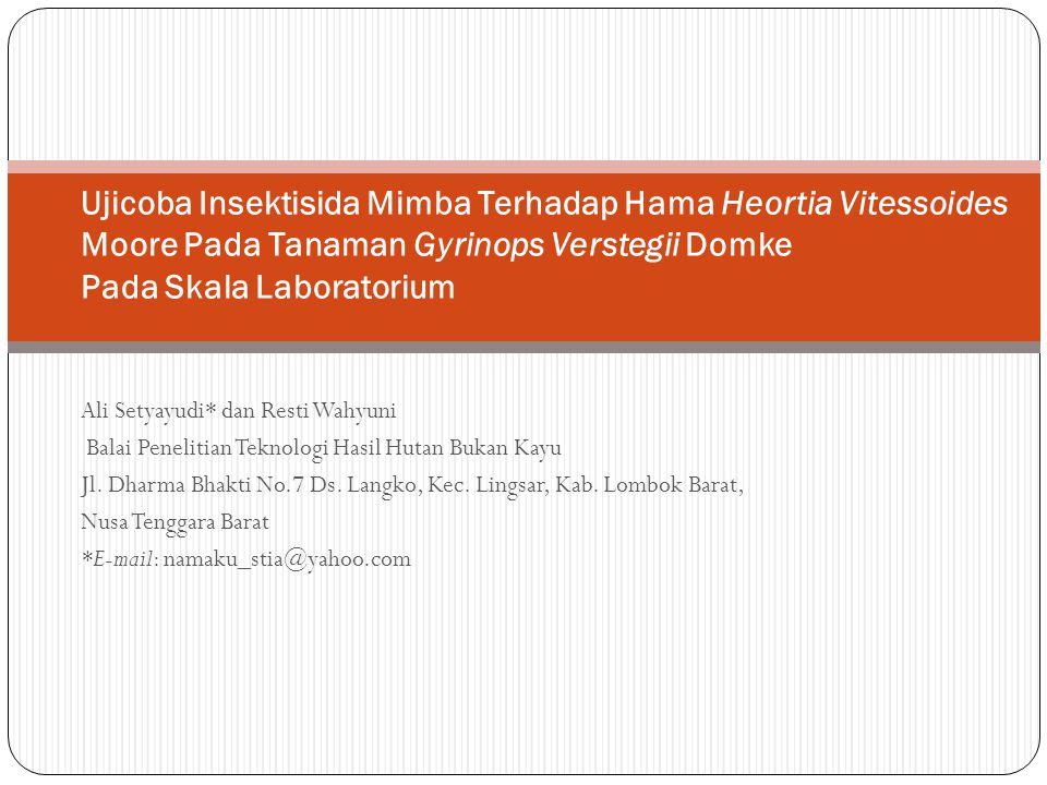 Ali Setyayudi* dan Resti Wahyuni Balai Penelitian Teknologi Hasil Hutan Bukan Kayu Jl. Dharma Bhakti No.7 Ds. Langko, Kec. Lingsar, Kab. Lombok Barat,