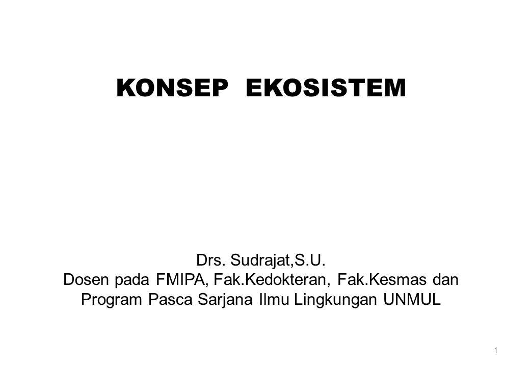 1 KONSEP EKOSISTEM Drs. Sudrajat,S.U. Dosen pada FMIPA, Fak.Kedokteran, Fak.Kesmas dan Program Pasca Sarjana Ilmu Lingkungan UNMUL