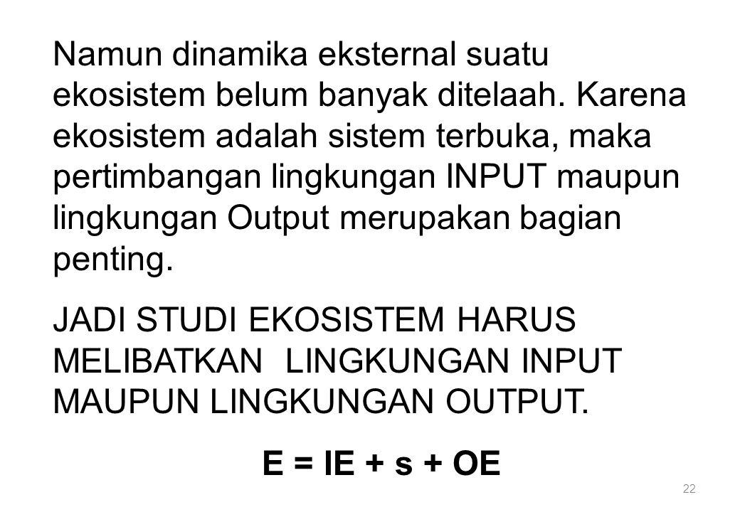 22 Namun dinamika eksternal suatu ekosistem belum banyak ditelaah. Karena ekosistem adalah sistem terbuka, maka pertimbangan lingkungan INPUT maupun l