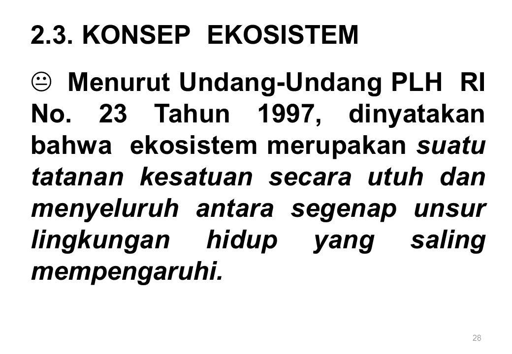 28 2.3. KONSEP EKOSISTEM K Menurut Undang-Undang PLH RI No. 23 Tahun 1997, dinyatakan bahwa ekosistem merupakan suatu tatanan kesatuan secara utuh dan