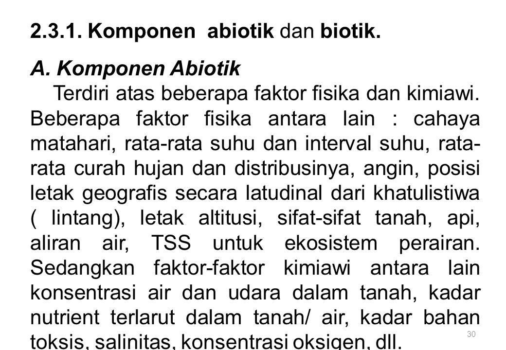30 2.3.1. Komponen abiotik dan biotik. A. Komponen Abiotik Terdiri atas beberapa faktor fisika dan kimiawi. Beberapa faktor fisika antara lain : cahay
