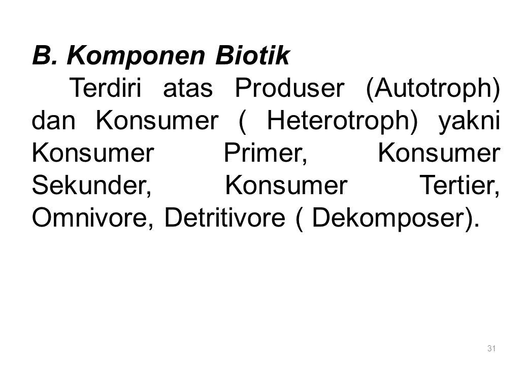 31 B. Komponen Biotik Terdiri atas Produser (Autotroph) dan Konsumer ( Heterotroph) yakni Konsumer Primer, Konsumer Sekunder, Konsumer Tertier, Omnivo