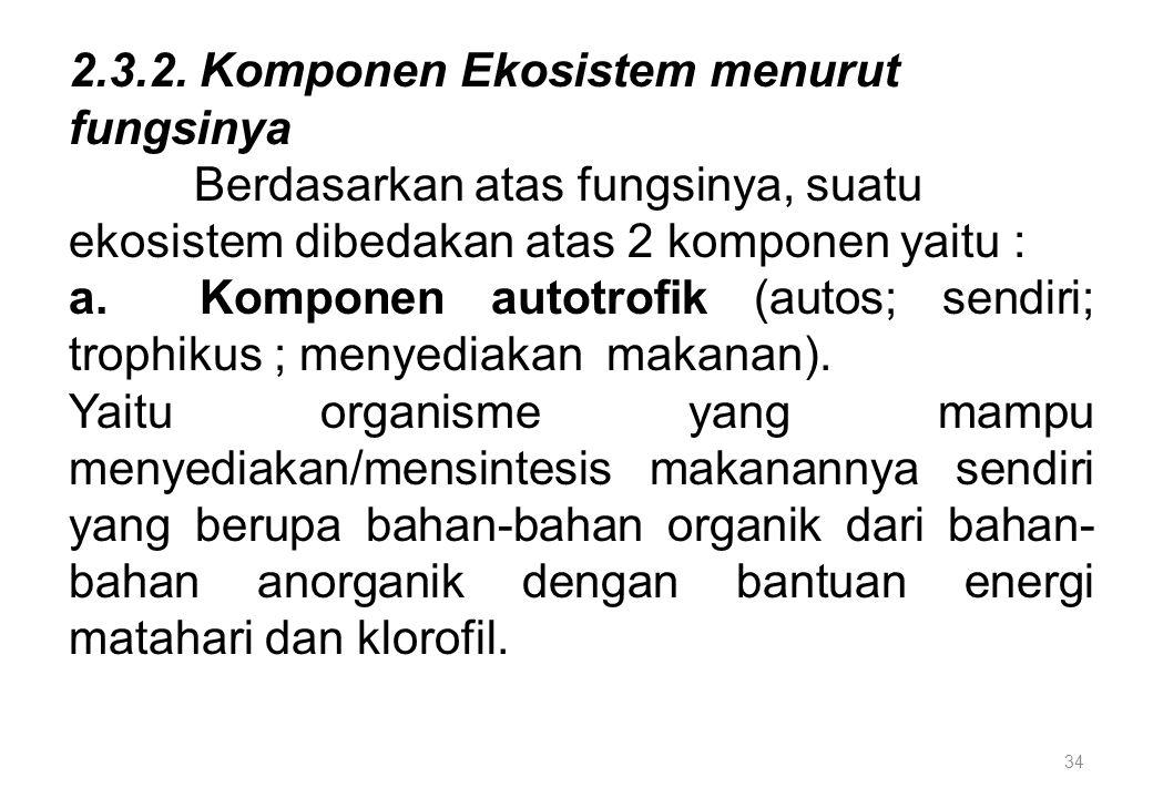 34 2.3.2. Komponen Ekosistem menurut fungsinya Berdasarkan atas fungsinya, suatu ekosistem dibedakan atas 2 komponen yaitu : a. Komponen autotrofik (a
