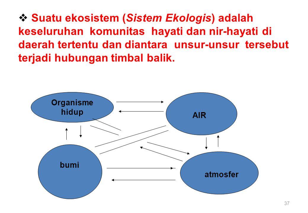37  Suatu ekosistem (Sistem Ekologis) adalah keseluruhan komunitas hayati dan nir-hayati di daerah tertentu dan diantara unsur-unsur tersebut terjadi