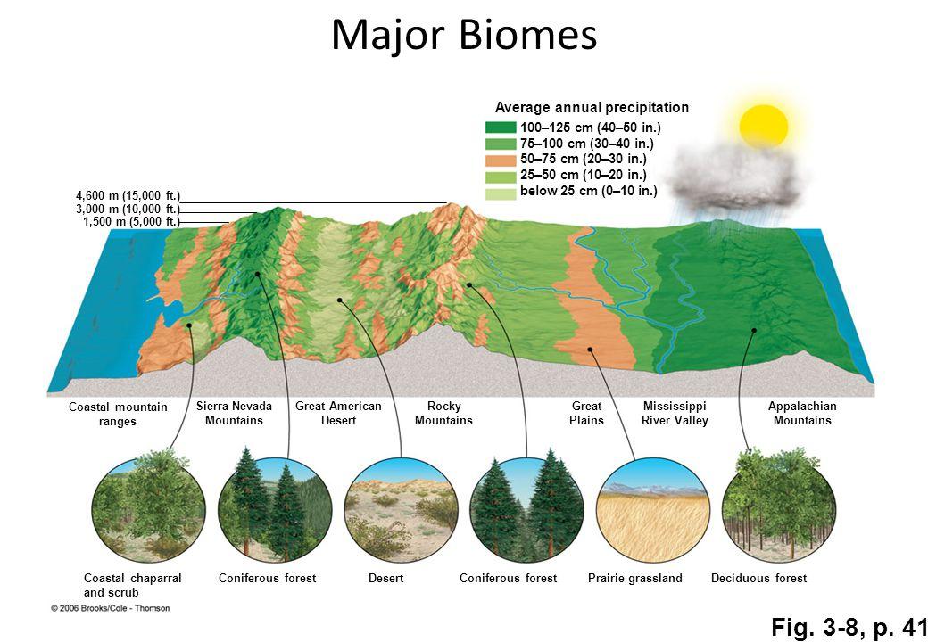 Fig. 3-8, p. 41 Coniferous forest Desert Coniferous forest Prairie grassland Deciduous forest 100–125 cm (40–50 in.) 75–100 cm (30–40 in.) 50–75 cm (2