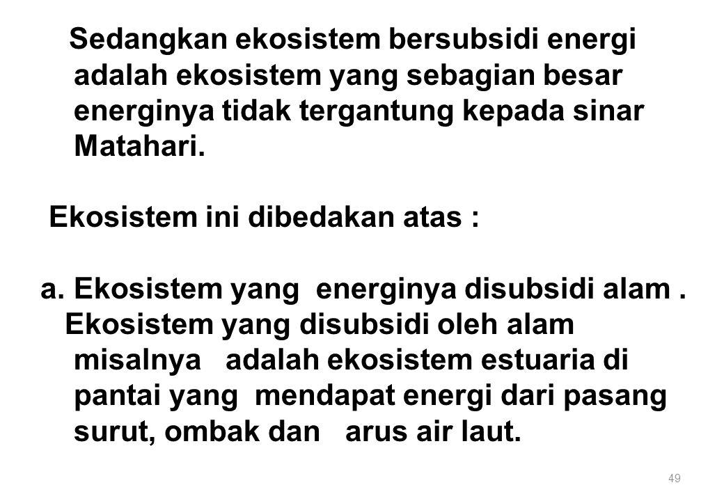 49 Sedangkan ekosistem bersubsidi energi adalah ekosistem yang sebagian besar energinya tidak tergantung kepada sinar Matahari. Ekosistem ini dibedaka
