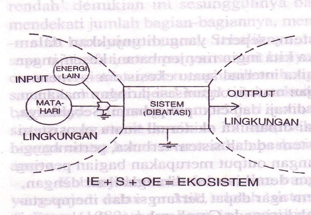 9 Suatu Ekosistem sejati, betapapun kecil batasnya adalah merupakan : -Suatu Entitas termodinamika terbuka dan jauh lebih dari keseimbangan.