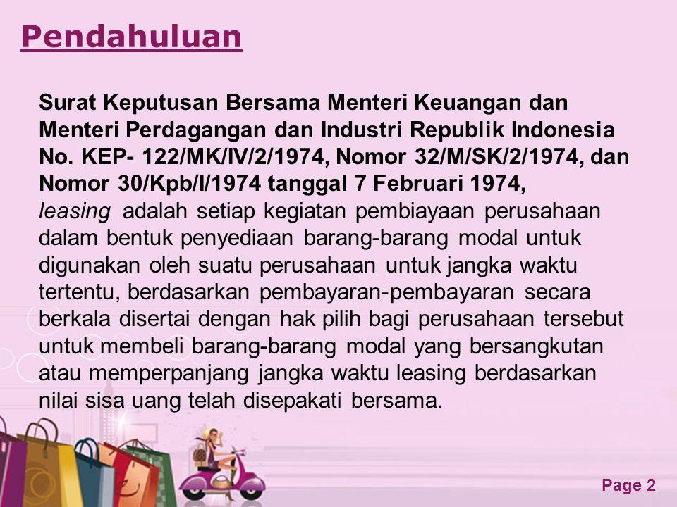 Free Powerpoint Templates Page 2 Pendahuluan Surat Keputusan Bersama Menteri Keuangan dan Menteri Perdagangan dan Industri Republik Indonesia No. KEP-