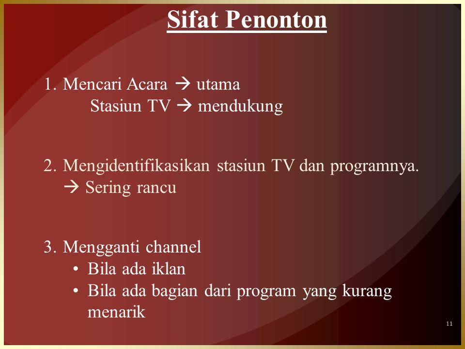 11 Sifat Penonton 1.Mencari Acara  utama Stasiun TV  mendukung 2.Mengidentifikasikan stasiun TV dan programnya.