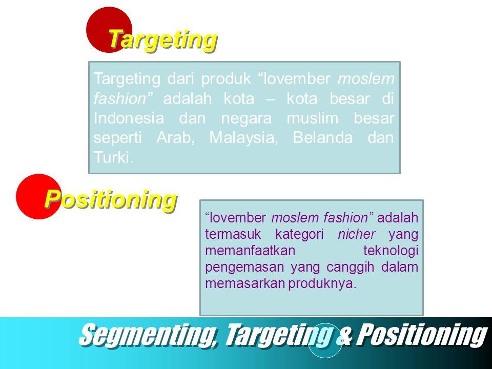 """Targeting Positioning Segmenting, Targeting & Positioning Targeting dari produk """"lovember moslem fashion"""" adalah kota – kota besar di Indonesia dan ne"""