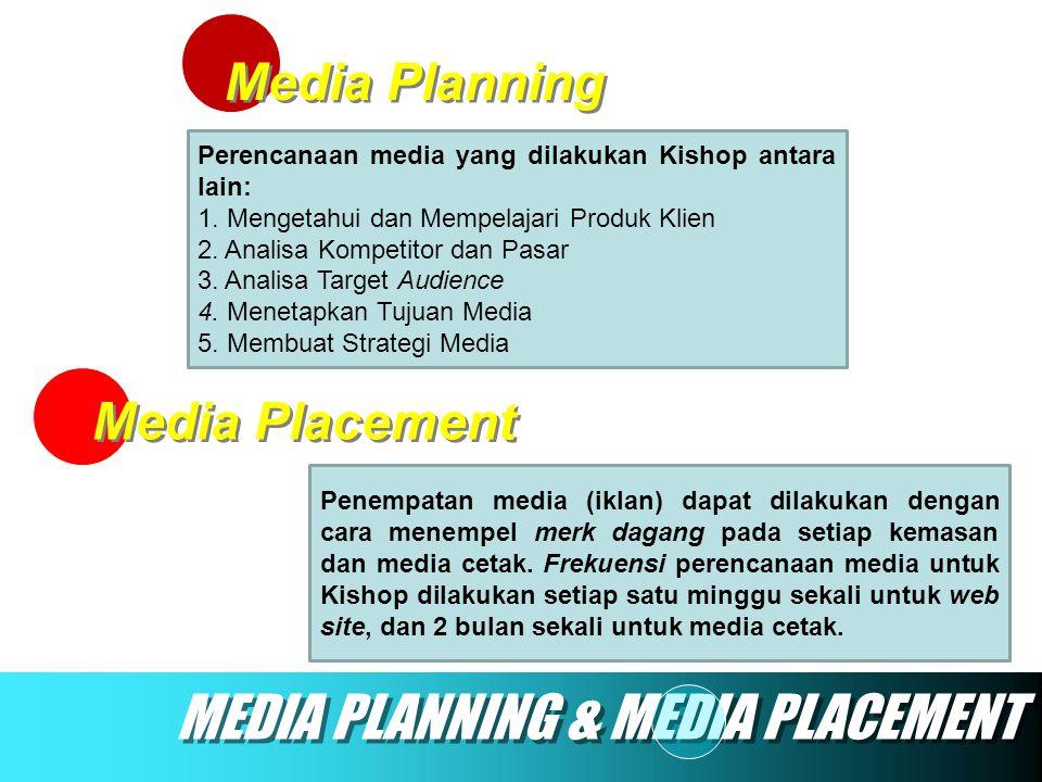 Media Planning Media Placement MEDIA PLANNING & MEDIA PLACEMENT Perencanaan media yang dilakukan Kishop antara lain: 1. Mengetahui dan Mempelajari Pro