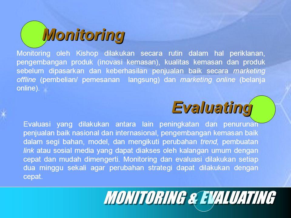 Monitoring MONITORING & EVALUATING Evaluating Monitoring oleh Kishop dilakukan secara rutin dalam hal periklanan, pengembangan produk (inovasi kemasan
