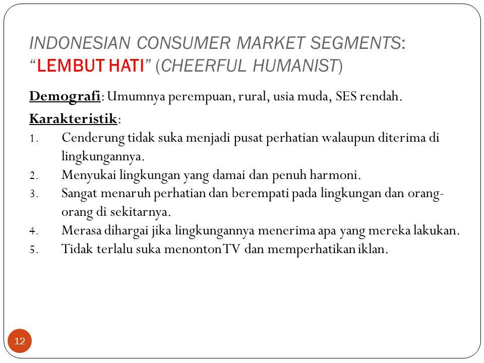 """12 INDONESIAN CONSUMER MARKET SEGMENTS: """"LEMBUT HATI"""" (CHEERFUL HUMANIST) Demografi: Umumnya perempuan, rural, usia muda, SES rendah. Karakteristik: 1"""