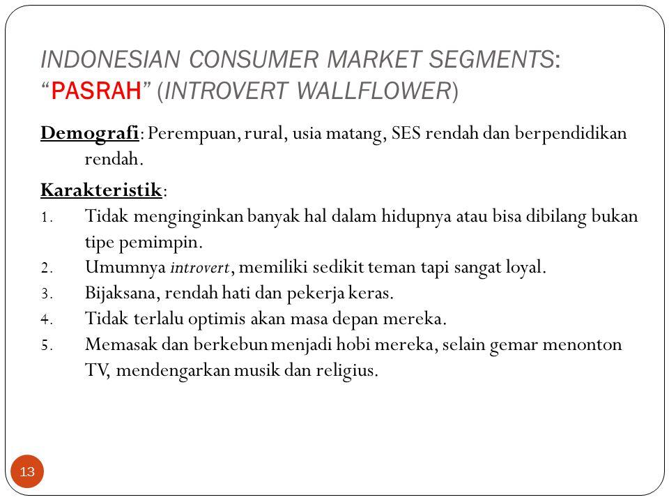 "13 INDONESIAN CONSUMER MARKET SEGMENTS: ""PASRAH"" (INTROVERT WALLFLOWER) Demografi: Perempuan, rural, usia matang, SES rendah dan berpendidikan rendah."
