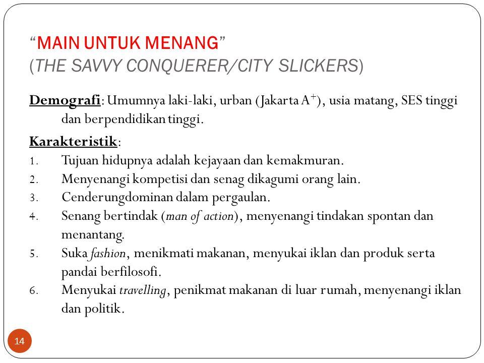 """14 """"MAIN UNTUK MENANG"""" (THE SAVVY CONQUERER/CITY SLICKERS) Demografi: Umumnya laki-laki, urban (Jakarta A + ), usia matang, SES tinggi dan berpendidik"""