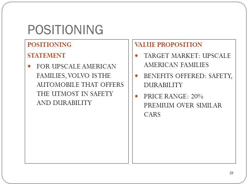 29 POSITIONING STATEMENT  FOR UPSCALE AMERICAN FAMILIES, VOLVO IS THE AUTOMOBILE THAT OFFERS THE UTMOST IN SAFETY AND DURABILITY VALUE PROPOSITION 