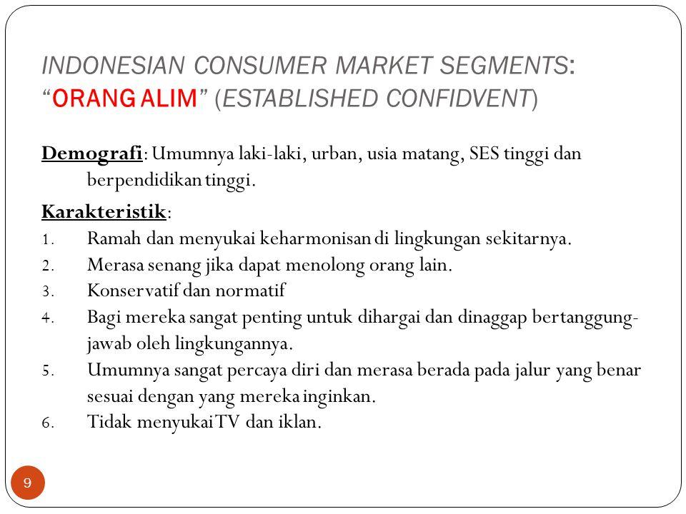 """9 INDONESIAN CONSUMER MARKET SEGMENTS : """"ORANG ALIM"""" (ESTABLISHED CONFIDVENT) Demografi: Umumnya laki-laki, urban, usia matang, SES tinggi dan berpend"""