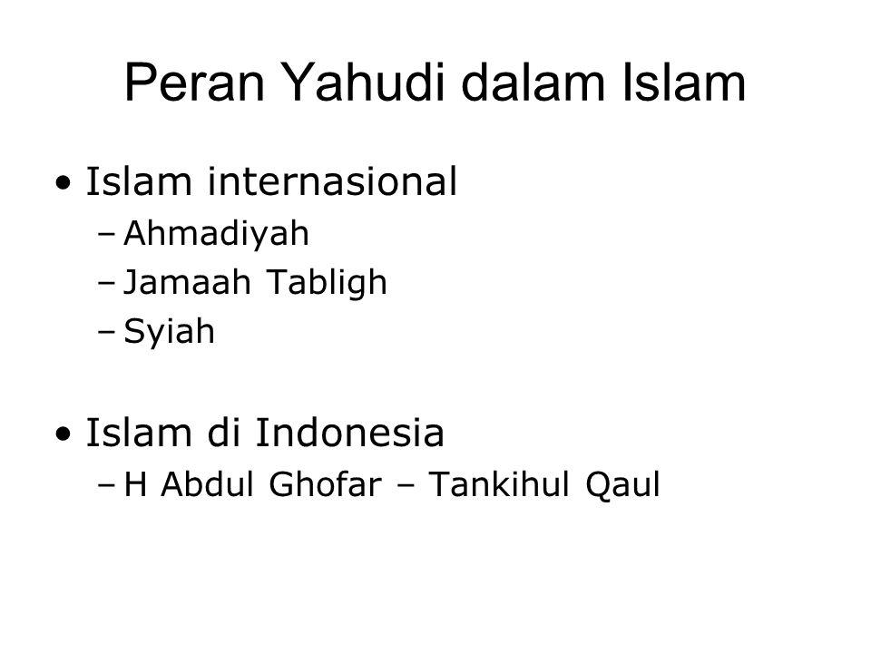 Peran Yahudi dalam Islam •Islam internasional –Ahmadiyah –Jamaah Tabligh –Syiah •Islam di Indonesia –H Abdul Ghofar – Tankihul Qaul