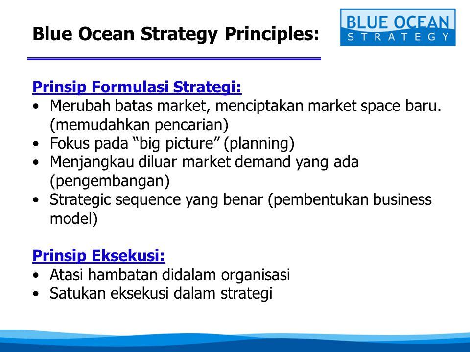 """Blue Ocean Strategy Principles: Prinsip Formulasi Strategi: •Merubah batas market, menciptakan market space baru. (memudahkan pencarian) •Fokus pada """""""