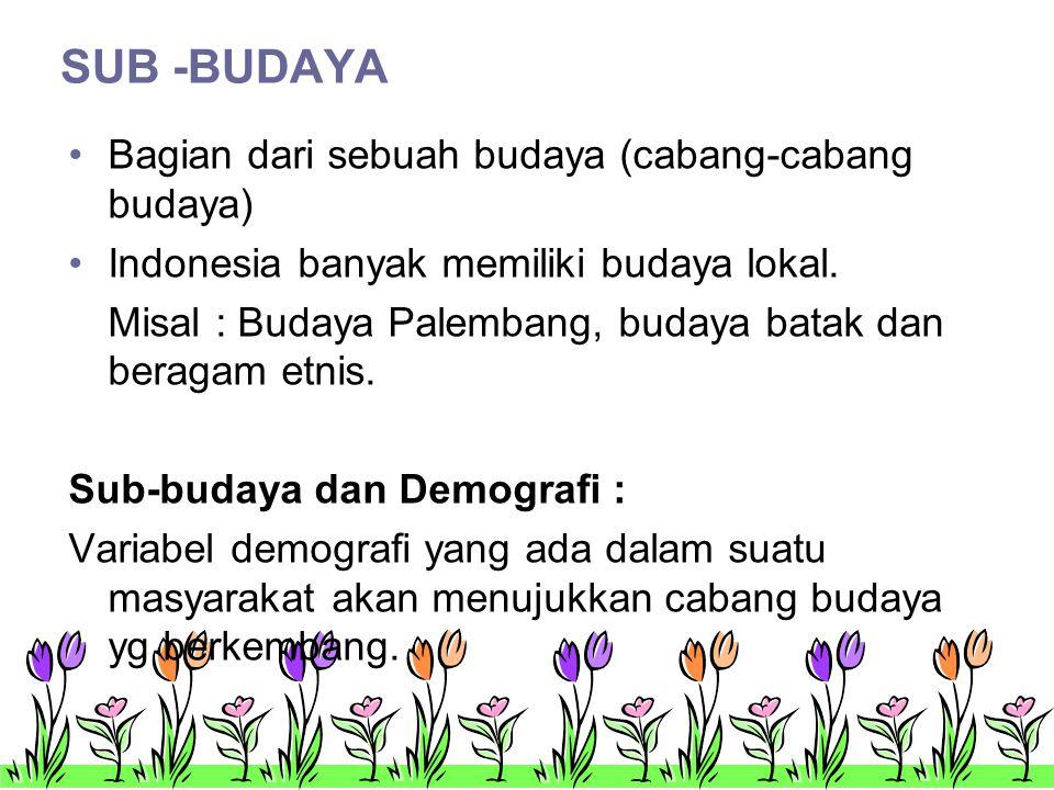 SUB -BUDAYA •Bagian dari sebuah budaya (cabang-cabang budaya) •Indonesia banyak memiliki budaya lokal.