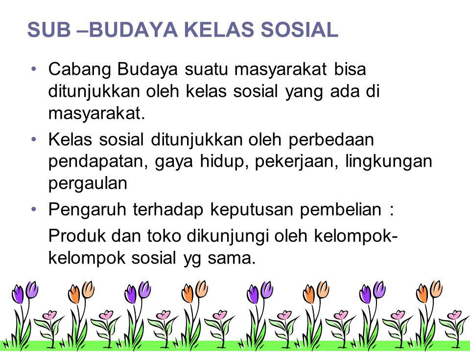 SUB –BUDAYA KELAS SOSIAL •Cabang Budaya suatu masyarakat bisa ditunjukkan oleh kelas sosial yang ada di masyarakat.