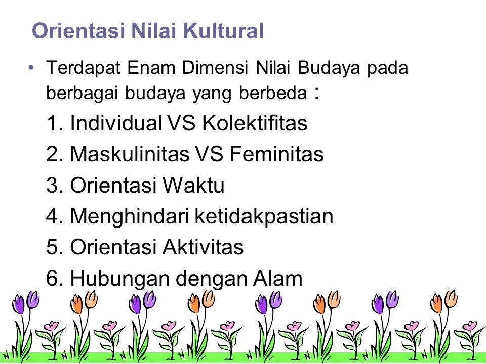 Orientasi Nilai Kultural •Terdapat Enam Dimensi Nilai Budaya pada berbagai budaya yang berbeda : 1.